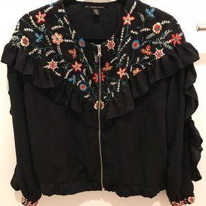 Zara trf embroidered ruffle jacket